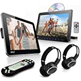 Universal Car Headrest Mount Monitor - 10.5 Inch Vehicle Multimedia DVD Player - Dual Audio Video Entertainment w/HDMI, Wide