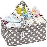 Hinwo Baby Diaper Caddy 3-Compartment Infant Nursery Tote Storage Bin Portable Car Organizer Newborn Shower Gift Basket with