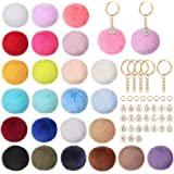 Auihiay 130 Pieces Pompoms Keychain with Letter Enamel Charms and Keyrings Set Fluffy Faux Fur Pom Poms Keychain for Bags DIY