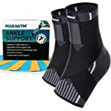 MARAKYM Premium Ankle Compression Socks for Men & Women - Foot Wrap Arch Support - Ankle Sleeves for Achilles Tendonitis, Pla