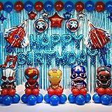 Superhero Balloon Themed Birthday Party Backdrop Decorations Party Supplies, Superhero, Captain America, Iron Man Balloon The