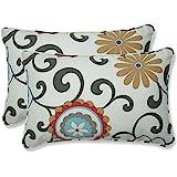 Pillow Perfect Outdoor Pom Pom Play Peachtini Rectangular Throw Pillow, Set of 2
