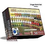 The Army Painter Miniature Painting Kit with Bonus Wargamer Regiment Miniature Paint Brush - Acrylic Model Paint Set with 50