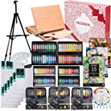 MEEDEN 148-Piece Deluxe Artist Painting Set with Aluminum and Solid Beech Wood Easel, Paint, Stretched Canvas and Accessories