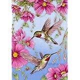 Toland Home Garden Hummingbirds with Pink 12.5 x 18 Inch Decorative Spring Summer Bird Flower Garden Flag