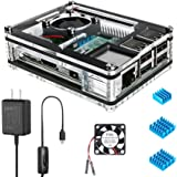 Miuzei Raspberry Pi 3 B+ Case with Fan Cooling, Pi 3B Case with 3 Pcs Heat-Sinks, 5V 2.5A Power Supply for Raspberry Pi 3 B+
