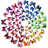 Amaonm 72 Pcs 6 Packages Beautiful 3d Butterfly Wall Decals Removable Diy Home Decorations Art Decor Wall Stickers & Murals f