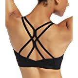 RUNNING GIRL Strappy Sports Bra for Women Sexy Crisscross Back Light Support Yoga Bra with Removable Cups