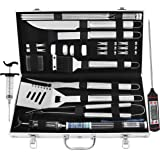 grilljoy BBQ Grill Tool Set 24pcs Stainless Steel BBQ Accessories in Aluminum Case Premium Complete Outdoor BBQ Utensil Gift