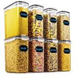 Cereal & Dry Food Storage Containers - Wildone Airtight Cereal Storage Containers Set of 8 [2.5L / 85.4oz] for Sugar, Flour,