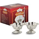 Shubhkart Silver Plated Haldi Kumkum Stand (Pack Of 3), Handmade Silver Plated Holder for Hanldi and Kumkum.