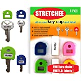 Key Caps Tags - Stretchy All-in-One Key Cover & Tags - ONE SIZE FITS MOST KEYS - 8 Pack Multicolor - Includes Blank Labels an