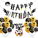 TanJJ Harry Potter Happy Birthday Bday Decorations,Wizard Happy Birthday Banner HP Birthday Themed for Kids Party Supplies De