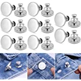 8 Sets Adjustable Jeans Button Pins Instant, Button Pins for Jeans No Sew Pants Waist Instant Jean Button Replacement Easy to