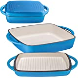 Bruntmor Enameled Square Cast Iron Large Baking Pan. Cookware Baking Dish With Griddle Lid 2-in-1 & Double Handle for Cassero