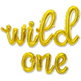 Wild One Cursive Letter Balloons - First Birthday Decorations for A Baby Boy & Baby Girl Party Supplies   Gold Wild One Ballo