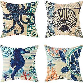 Top Finel クッションカバー Cushion Covers おしゃれ 亜麻 リネン ソファ背当て インテリア 部屋飾り 海洋系 45×45CM 4枚入り