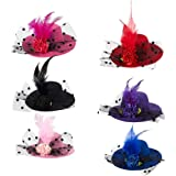 Mini Hat Hair Clip - 6 Pack Decorative Hair Accessories for Baby, Kid, and Lady, Fascinator Hats for Party, Tea or Cocktail P