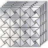 HomeyStyle Peel and Stick Tile Backsplash for Wall Decor Kitchen Bathroom Aluminum Surface Metal Mosaic Tile Sticker Windmill