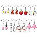 PANTIDE 8 Pairs Funny Dangle Earrings Gummy Bear Goldfish Water Bottle Paint Palette Earrings Strawberry Mushroom Milk Tea Eg
