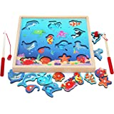 TOWO Wooden Fishing Game-Magnetic Fishing Puzzles with Numbers Jigsaw Puzzle- Sea Creatures Kids Fishing Game Educational Toy