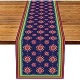 Rainlemon Linen Diwali Table Runner Indian Deepawali Festival of Lights Kitchen Dinning Room Decoration