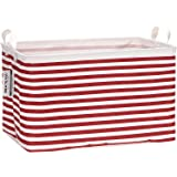Sea Team Collapsible Rectangular Canvas Fabric Storage Bin Shelf Basket Organizer for Nursery & Kid's Room, 16.5 x 11 x 9.8 i