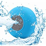 Portable Waterproof Shower Speaker Bluetooth 3.0 with Built-in Mic Powerful for Pool Boat Beach Hiking Camping (Blue)
