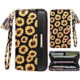 Women Wallets Multi Card Case Wallet Clutch Wallet Card Holder Organizer Ladies Purse Floral Tassel Wrist strap Purse,Sunflow