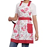 Neoviva Cotton Canvas Women's Apron with 2 Pockets-Extra Long Ties, Style Diana, Floral Lollipop Red