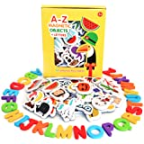 Curious Columbus Magnetic Objects and Letters Set of 52 Foam Picture Magnets, Plus 26 Uppercase Alphabet Magnets from A-Z. Be
