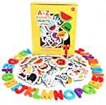 Magnetic Objects And Letters by Curious Columbus. Set of 52 Foam Picture Magnets, Plus 26 Uppercase Alphabet Magnets From...