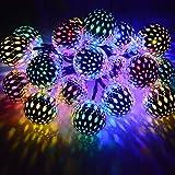 Dephen Solar String Lights Moroccan Ball Multicolor 15ft 20LED Globe Fairy String Lights Solar Powered Orb Lantern Christmas