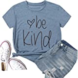Hellopopgo Be Kind Women Casual Short Sleeve Summer Soft T-Shirt Blouse Tee Tops