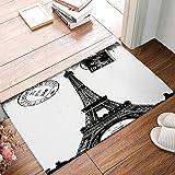 Frech Paris Eiffel Tower City of Love Black White Non-Slip Machine Washable Bathroom Kitchen Decor Rug Mat Welcome Doormat 23