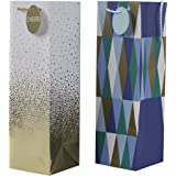 Hallmark Bottle Gift Bags (Cheers and Geometric, 2 Pack)