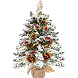 TURNMEON 22Inch Tabletop Christmas Tree with 50 Lights, Snow Flocked Pre-lit Mini Small Christmas Tree Battery Operated Warm