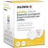 Medela Safe & Dry Ultra Thin Disposable Nursing Pads, 30 Count Breast Pads for Breastfeeding, Leakproof Design, Slender and C