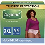 Depend FIT-FLEX Incontinence Underwear For Women, Disposable, Maximum Absorbency, XXL, Blush, 44 Count (2 Packs of 22) (Packa