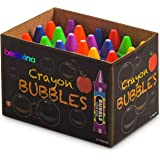 Bulk Crayon Bubbles (24 Pieces) Assorted Bubble Bottles in Crayon Shape, with Blow Wands, for Kids Outdoor Summer Party's, B
