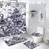 4 Pcs Kraken Octopus Attack Sailboat Shower Curtain Set with Non-Slip Rug, Toilet Lid Cover, Bath Mat and 12 Hooks, Nautical