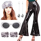 Women 70's Dance Costume Sequin High Waisted Flared Pant with Disco Ball Earring