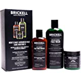 Brickell Men's Daily Advanced Face Care Routine II - Activated Charcoal Facial Cleanser + Face Scrub + Face Moisturizer Lotio
