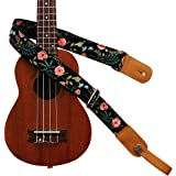 "MUSIC FIRST Original Design ""Dark Night Garden"" Soft Cotton & Genuine Leather Ukulele Strap Ukulele Shoulder Strap With a MUS"