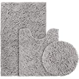 BYSURE 3 Piece Bathroom Rug Set Grey Extra Absorbent Shaggy Chenille Bath Mats Set, Soft & Dry Bath Rugs Set for Bathroom Non