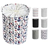 Auma 22-Inches Collapsible Thickened X-Large Laundry Basket - Foldable Clothes Hamper with Durable Leather Handle, Drawstring