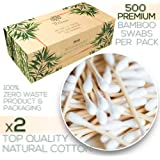 Premium 500 Biodegradable Bamboo Cotton Swabs | Compostable Wooden Ear Sticks | Zero Waste Disposable Products | Plastic Free