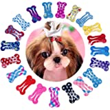 """PET SHOW Cute 1"""" Small Bone Snap Hair Clips Pet Grooming Products Dog Cat Puppy Hair Accessories Random Color Pack of 20"""