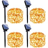 Outdoor Solar String Lights, 4 Pack 33FT 100 LED Solar Fairy Lights Waterproof Decoration Copper Wire Lights with 8 Modes for