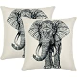 Set of 2 Jahosin Throw Pillow Covers 18 X 18 Inches Decorative Elephant Cushion Case (Sketch Elephant)